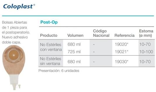 Tabla de medidas PostOP 6unidades
